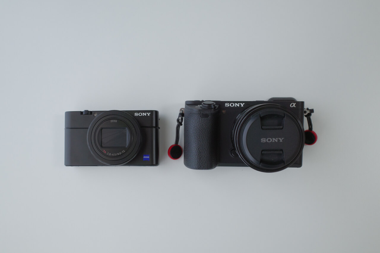 RX100M6とα6500の大きさ比較写真