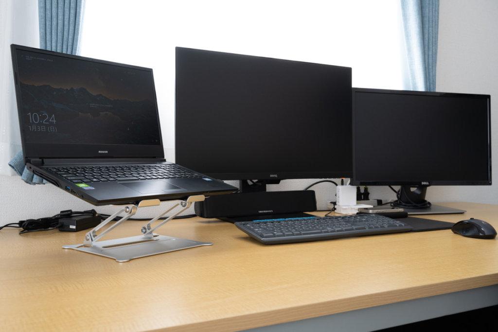 STRENTERノートパソコンスタンドを実際に使っている画像